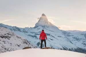 Man Before Majestic Mountain